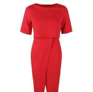 Boohoo Dresses - Boohoo Layered Wrap Wiggle Midi Dress